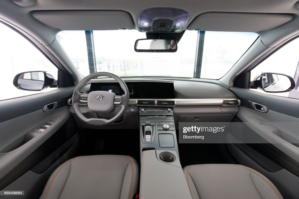 The interior of the Hyundai Motor Co. next generation fuel-cell electric sport utility vehicle (SUV) is seen during an unveiling event in Seoul, South Korea, on Thursday, Aug. 17, 2017. Hyundai said that electric vehicles will underpin its push into environmentally friendly cars, the latest automaker to embrace battery-powered vehicles after earlier bets on hydrogen fuel-cell cars. Photographer: SeongJoon Cho/Bloomberg via Getty Images