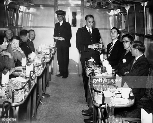 The interior of the 'Jolly Tar' the first of British Rail's new 'Tavern Cars' at Waterloo Station London 25th May 1949 The cars are styled in the...