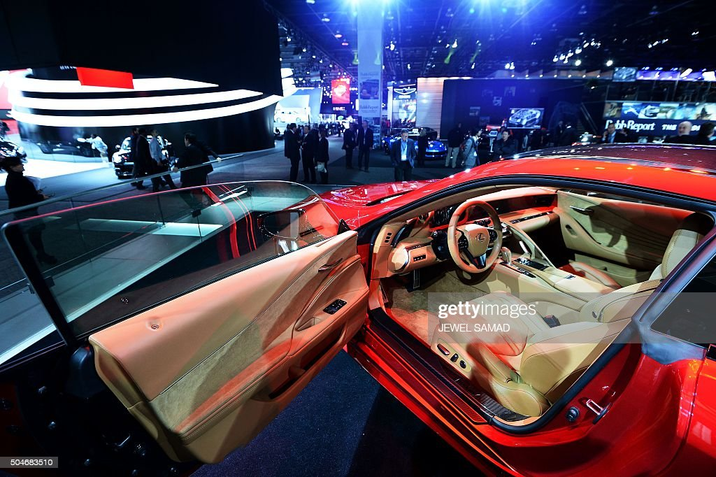 The interior of the Lexus LS500 is pictured during the press preview of the 2016 North American International Auto Show in Detroit, Michigan, on January 12, 2016.