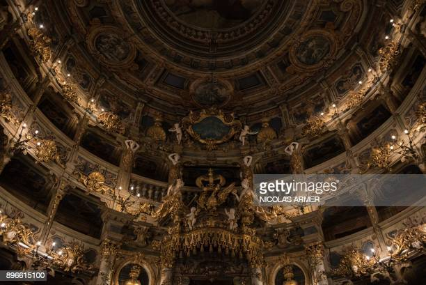 The interior of the Margravial Opera House in Bayreuth is pictured on December 21 2017 The Margravial Opera House is a Baroque opera house built...