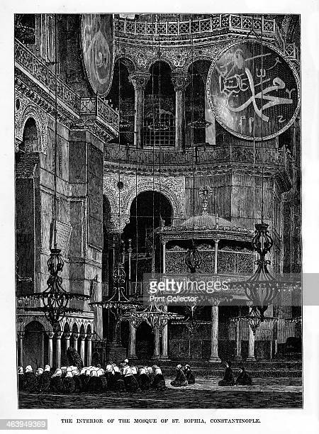 'The Interior of the Mosque of Santa Sophia Constantinople' Turkey 19th century Hagia Sophia also known as the Church of the Holy Wisdom is the most...