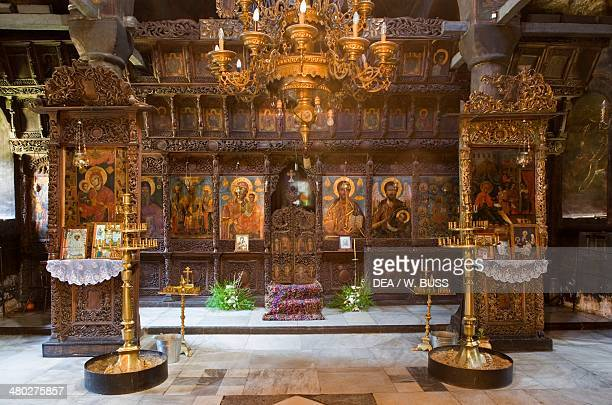 The interior of the Most Holy Mother of God church in the Monastery of the Dormition founded in 1600 Bulgaria