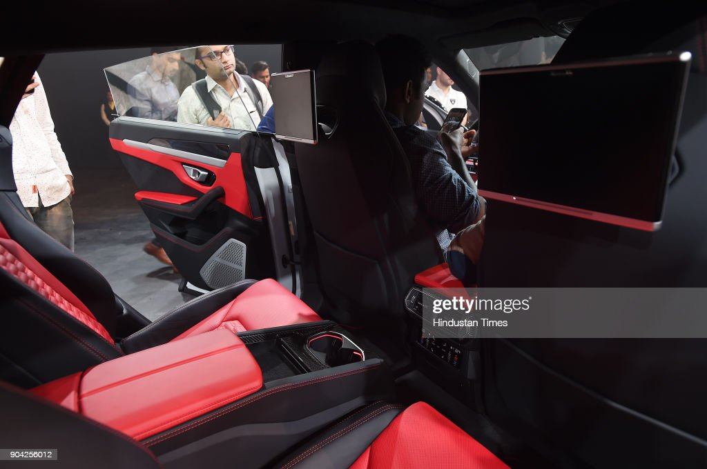 The interior of the New Lamborghini Urus the world's super sport utility vehicle Launch at Famous Studio Mahalaxmi on January 11, 2018 in Mumbai, India. In a little over a month after its global unveil, Lamborghini has now launched the Urus in India at Rs 3 crore (ex-showroom), making it the new entry point to the brand.