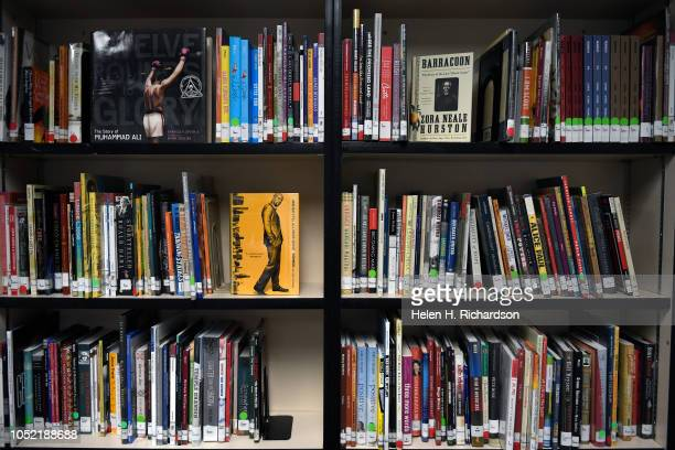 The interior of the new library has lots of new books for kids on the Montbello High School campus on October 9 2018 in Denver Colorado DPS...