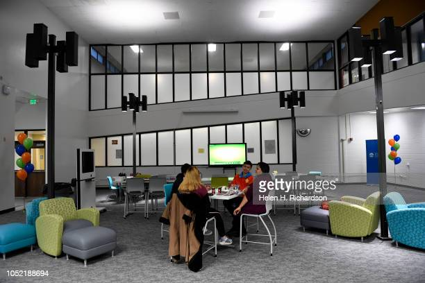 The interior of the new library on the Montbello High School campus on October 9 2018 in Denver Colorado DPS Superintendent Tom Boasberg and other...