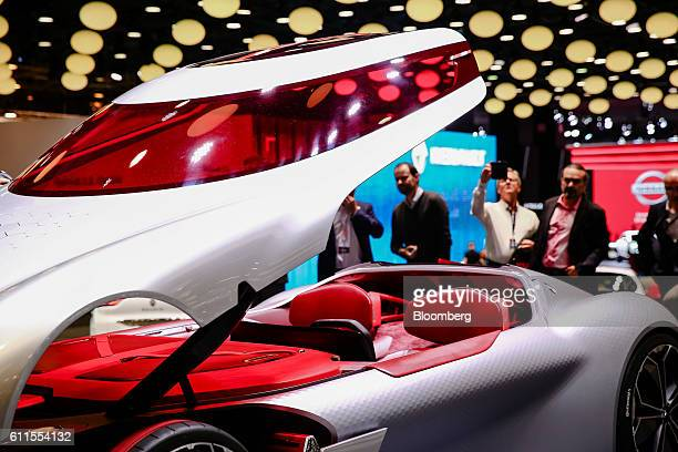 The interior of the new Renault Trezor concept automobile, produced by Renault SA, sits on display during the second press day of the Paris Motor...