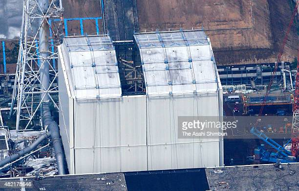 The interior of the No 1 reactor building of the Tokyo Electric Power Co 's Fukushima Daiichi Nuclear Power Plant can be seen from above after a...