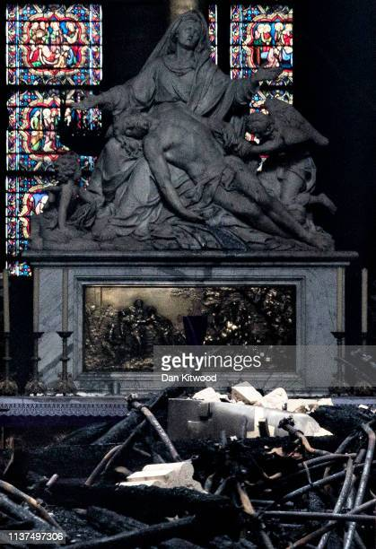 The interior of the Notre-Dame Cathedral is seen through a doorway following a major fire yesterday on April 16, 2019 in Paris, France. A fire broke...