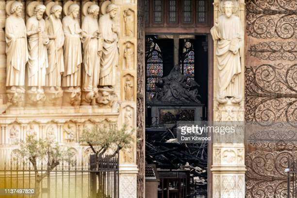The interior of the NotreDame Cathedral is seen through a doorway following a major fire yesterday on April 16 2019 in Paris France A fire broke out...