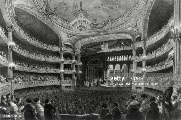 The interior of the Opera Peletier in Paris at the end of the decoration works carried out by Visconti and Rohaut in 1854 illustration France 19th...