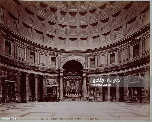 The interior of the Pantheon in Rome which originally served as a temple then became a Christian church in 609 AD It also served as the Mausoleum of...
