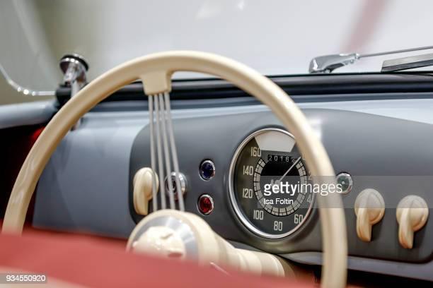 The interior of the Porsche 356 'No 1' Roadster during the Porsche exhibition preview of '70 Jahre Faszination Sportwagen' at DRIVE Volkswagen Group...