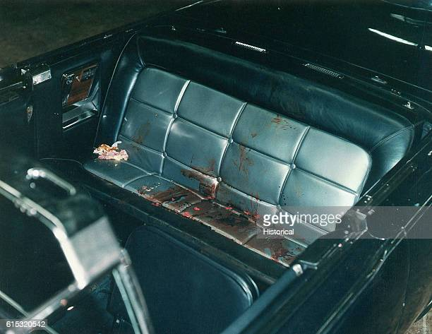 The interior of the Presidential limousine after the Kennedy assassination Included as an exhibit for the Warren Commission Ca November 1963