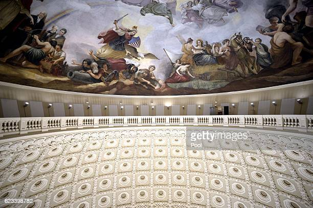 The Interior of the recently restored US Capitol dome is shown during a tour on November 15 2016 in Washington DC The Architect of the Capitol has...
