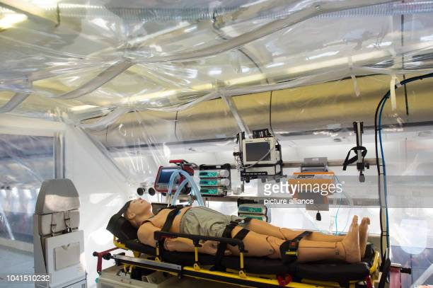 The interior of the 'Robert Koch' evacuation plane at Tegel Airport in Berlin Germany 27 November 2014 The Airbus A340 has an isolation unit for...