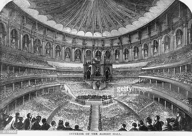 The interior of the Royal Albert Hall in London circa 1880