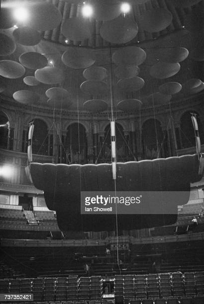 The interior of the Royal Albert Hall South Kensington London after the replacement of the orchestral canopy with a new one almost twice as large...