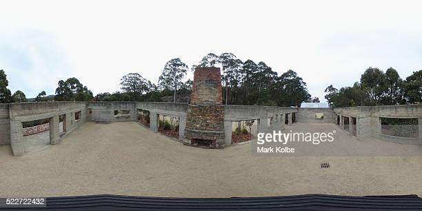 The interior of the shell of the Broad Arrow cafe is seen in the Memorial Garden of the Port Arthur Historical Site on April 18, 2016 in Port Arthur,...