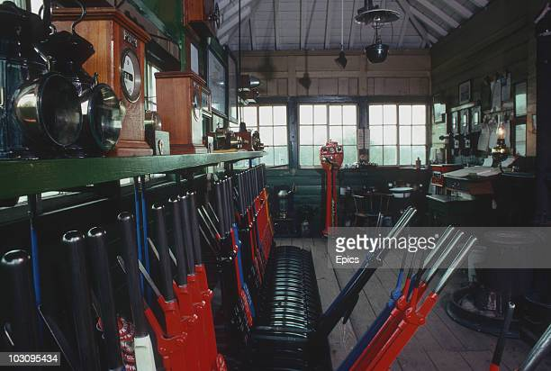 The interior of the signal box at Horsted Keynes along the Bluebell Railway which began operation from Lewes To East Grinstead in 1882 April 1978