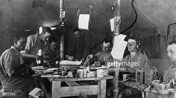 The interior of the signal tent at Divisional headquarters in Gallipoli