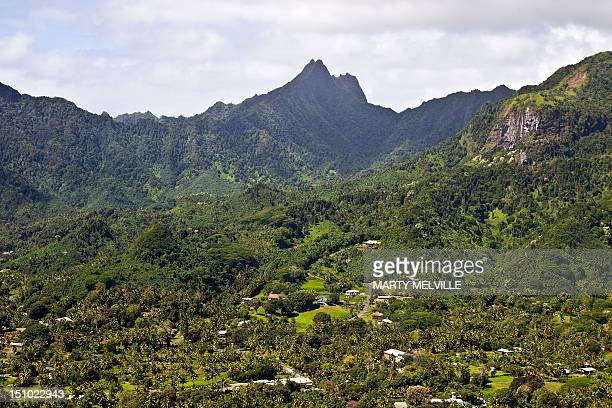 The interior of the Southern side of the Island of Rarotonga the largest island in the Cook Islands is viewed from the air on August 30 2012 AFP...