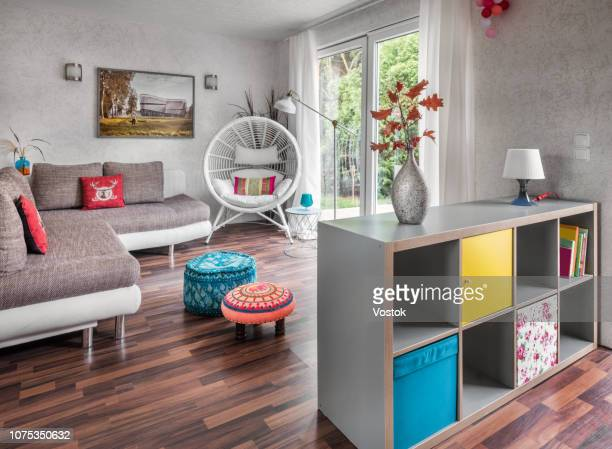 the interior of the summer house - ottomane stockfoto's en -beelden