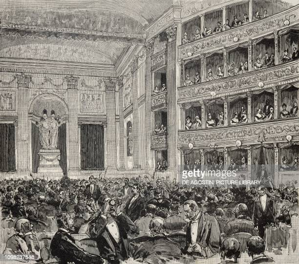 The interior of the Teatro Argentina in Rome illustration Italy 19th century