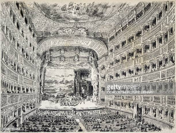 The interior of the Teatro San Carlo in Naples illustration Italy 19th century