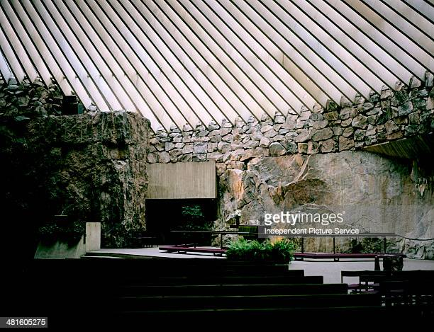 The interior of the Temppeliaukio Kirkko Temple Square Church in Helsinki Finland