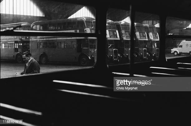 The interior of the top deck of a Leyland Titan doubledecker bus at Stockwell Bus Garage south London 26th February 1967