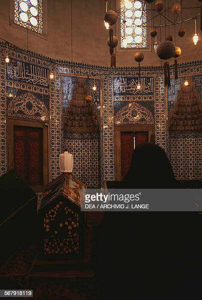 The interior of the turbe of Hurrem Sultan wife of the sultan in the Suleymaniye mosque complex built by architect Mimar Sinan Istanbul Turkey 16th...