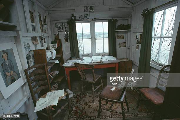 The interior of the writing shed used by Welsh poet Dylan Thomas at his home in Laugharne Carmarthenshire Wales May 1979