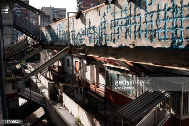 The interior of the Yellow Sail building on November 15 2016 in Naples Italy The Brutalist apartment blocks known as La Vele or 'The Sails Of...