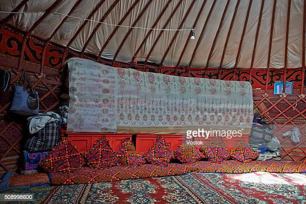 the interior of the Yurt