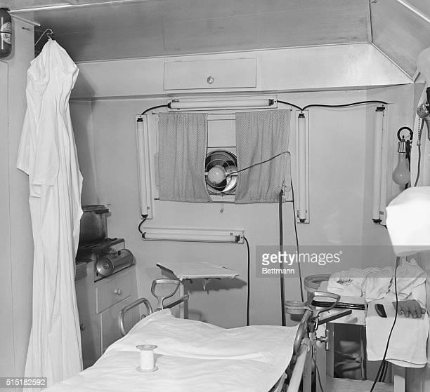 The interior of trailer used by Delmar James Frazier and his assistant Mary Ellen Snyder to perform 30 abortions in 1948 Frazier charged $350 per...