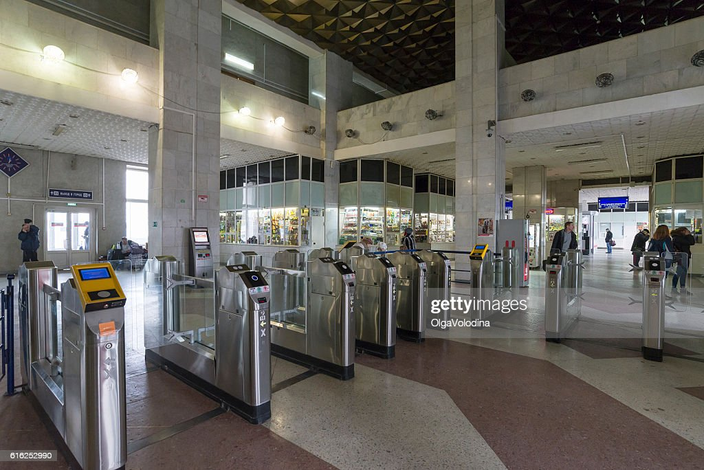 The interior of  train station with turnstiles in Vladimir, Russia : Stock Photo