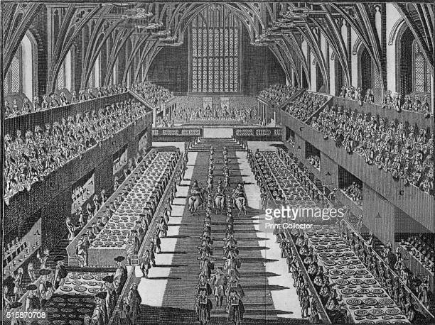 The interior of Westminster Hall at the coronation banquet of King George II, 1727 . George II , King of Great Britain and Ireland, Duke of...