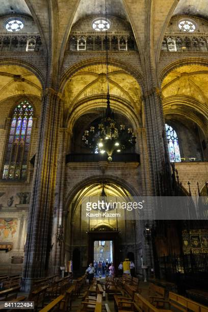 The interior view of Barcelona Cathedral on July 12 2017 in Barcelona Spain The Cathedral of the Holy Cross and Saint Eulalia also known as Barcelona...