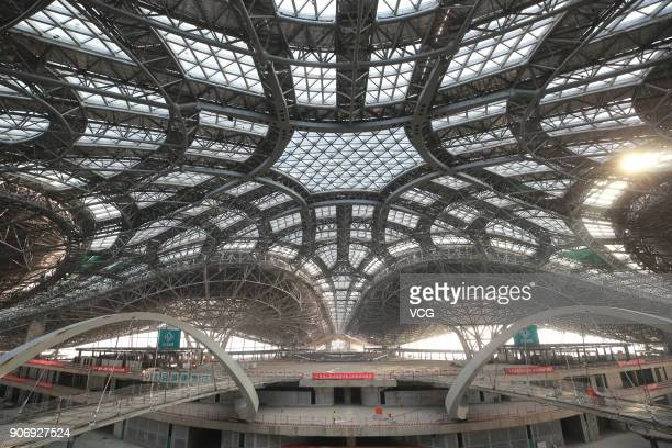 The interior view of Beijing's new international airport at Daxing District on January 17 2018 in Beijing China Sits on the junction of Daxing...