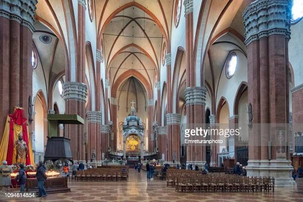 the interior view of san petronio basilica in bologna. - emreturanphoto stock pictures, royalty-free photos & images