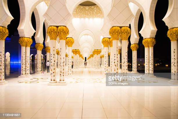 The interior view of Sheikh Zayed Grand Mosque in Abu Dhabi.