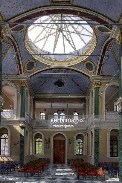 the interior view st.vukolos church in izmir. - emreturanphoto stock pictures, royalty-free photos & images