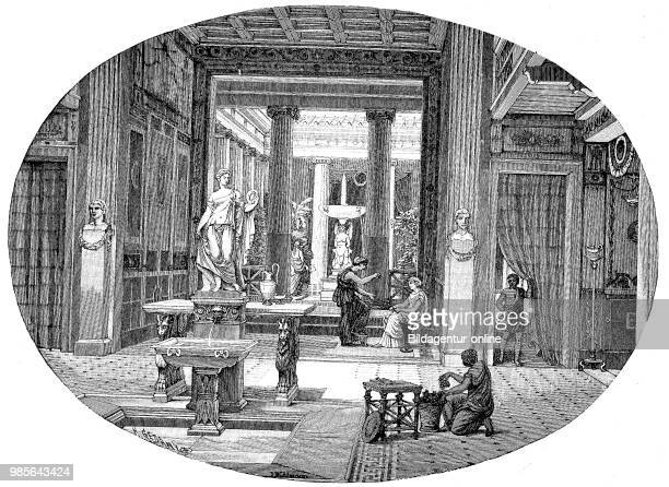 the interiors of a Roman house view from the atrium through the tablinum into the peristyle The peristyle is in the ancient architecture a...