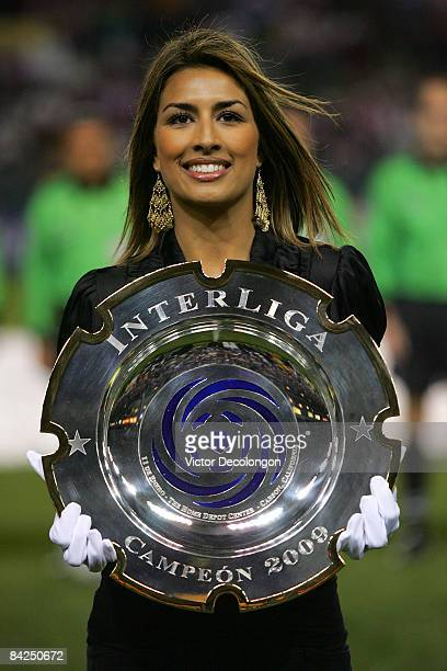 The InterLiga trophy is brought out before the InterLiga match between Morelia and CD Chivas de Guadalajara at The Home Depot Center on January 11,...