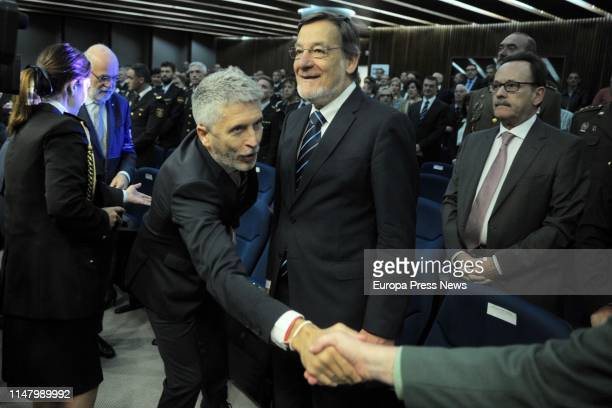 The Internal Affairs minister Fernando GrandeMarlaska and the former secretary general of the OTAN Javier Solana attend a tribute to the first woman...