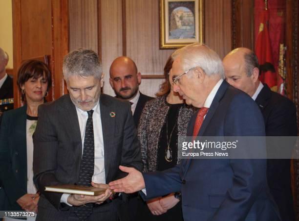 The Internal Affairs minister Fernando GrandeMarlaska and the president of the city of Melilla Juan José Imbroda are seen during a visit along the...