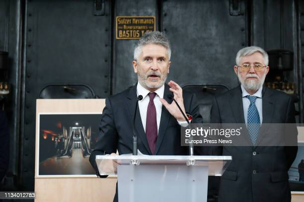 The Internal Affairs minister Fernando GrandeMarlaska and the director of the Center for the Memory of the Victims of Terrorism Florencio Dominguez...