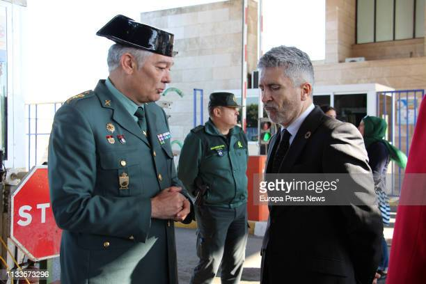 The Internal Affairs minister Fernando GrandeMarlaska is seen during a visit along the border with Marruecos on March 02 2019 in Melilla Spain