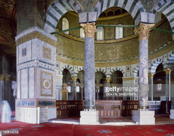 The internal ambulatory with its line of alternating columns and pillars at the Dome of the Rock or Mosque of Omar Jerusalem's Old City Israel
