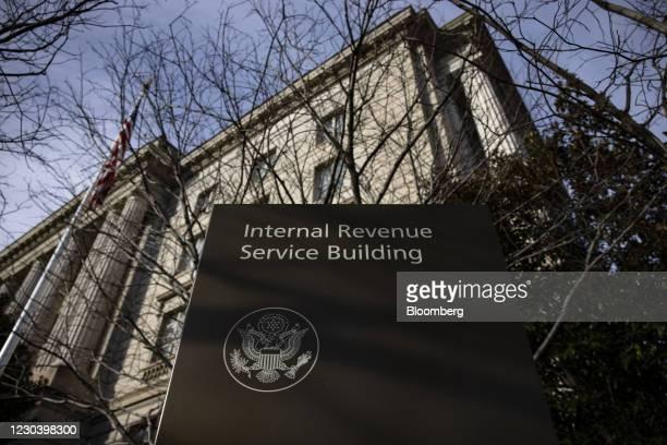 The Internal Revenue Service headquarters in Washington, D.C., U.S., on Saturday, Jan. 2, 2021. A group of 11 Republican senators is pledging to...